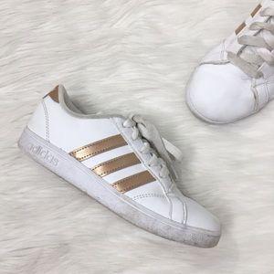 Adidas Kids White Rose Gold Baseline Sneaker Shoes